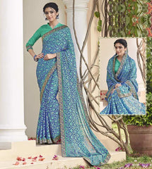 Blue & Green Color Chiffon Brasso Party Wear Sarees : Deveshi Collection  YF-50154