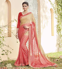 Light Coffee & Gajjaria Color Chiffon Brasso Party Wear Sarees : Deveshi Collection  YF-50155