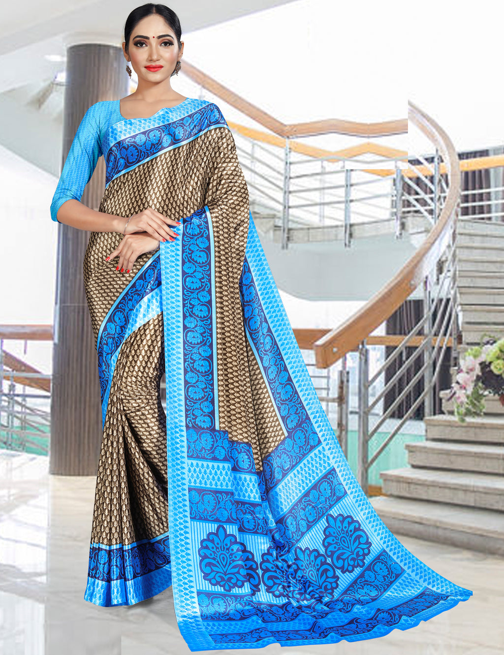Brown & Blue Color Crepe Printed Office Wear Sarees NYF-7736