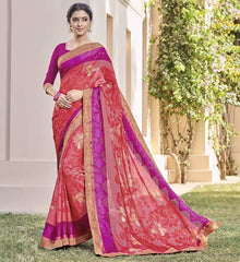 Red & Pink Color Chiffon Brasso Party Wear Sarees : Deveshi Collection  YF-50156