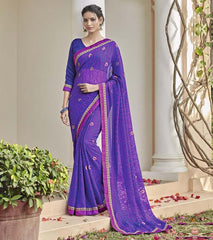 Blue & Pink Color Chiffon Brasso Party Wear Sarees : Deveshi Collection  YF-50157