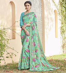Dark Sea Green Color Chiffon Brasso Party Wear Sarees : Deveshi Collection  YF-50158