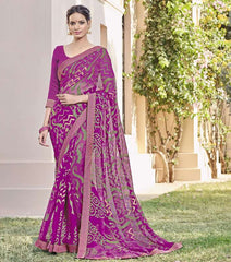 Magenta Color Chiffon Brasso Party Wear Sarees : Deveshi Collection  YF-50159