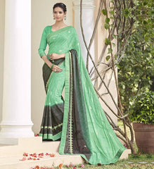 Green & Black Color Chiffon Brasso Party Wear Sarees : Deveshi Collection  YF-50160