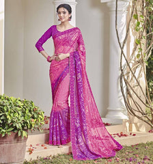 Pink Color Chiffon Brasso Party Wear Sarees : Deveshi Collection  YF-50161