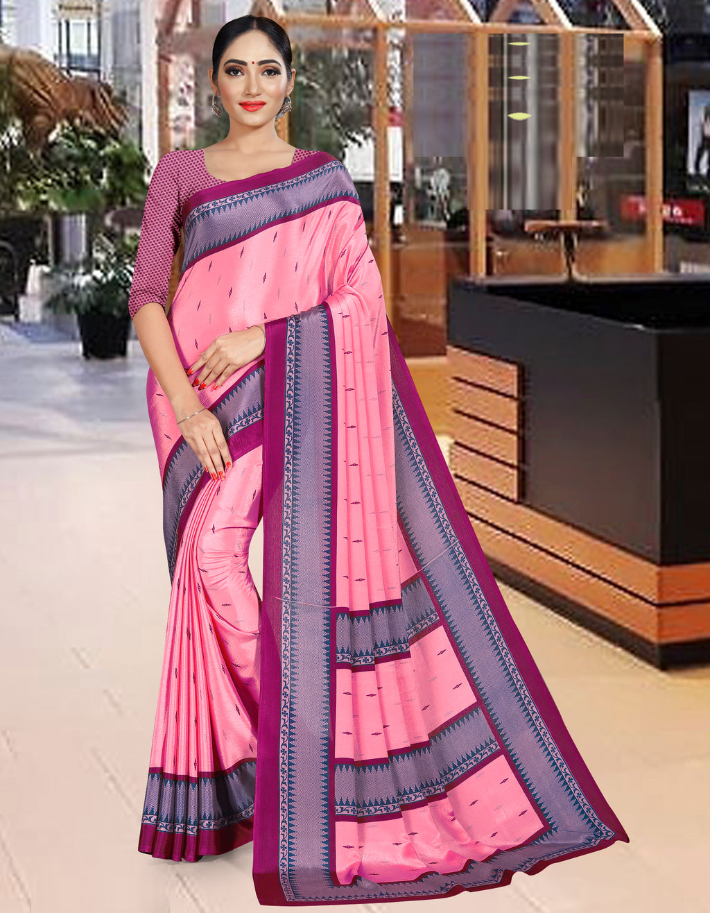 Pink Color Crepe Printed Office Wear Sarees NYF-7737