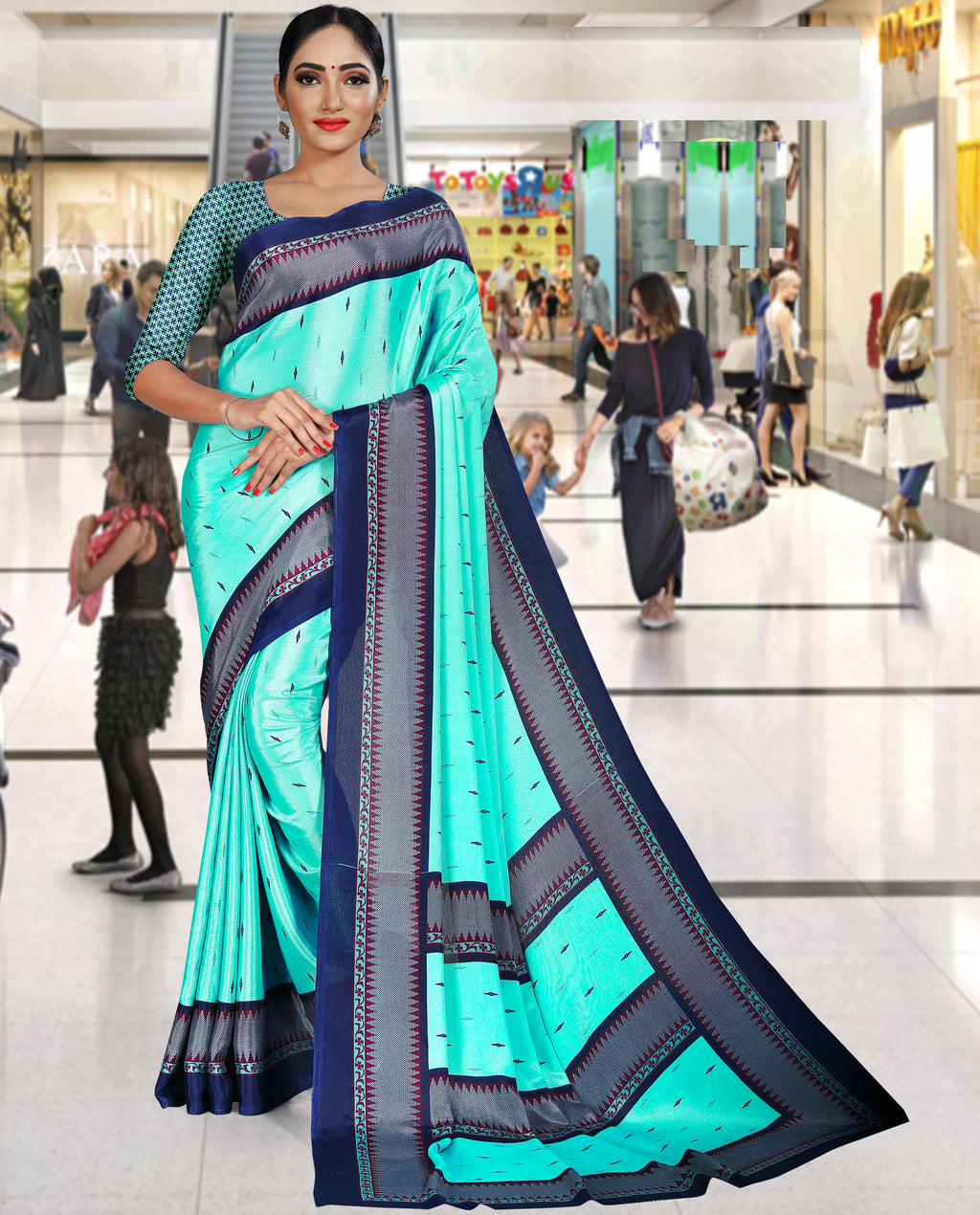 Sea Green Color Crepe Printed Office Wear Sarees NYF-7738