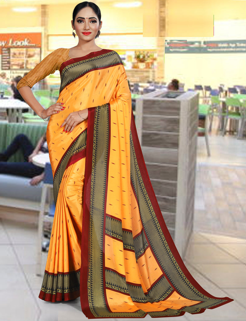Yellow Color Crepe Printed Office Wear Sarees NYF-7739