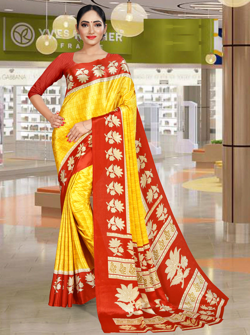 Yellow Color Crepe Printed Office Wear Sarees NYF-7740