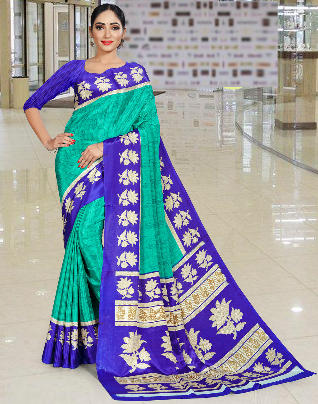 Green Color Crepe Printed Office Wear Sarees NYF-7741