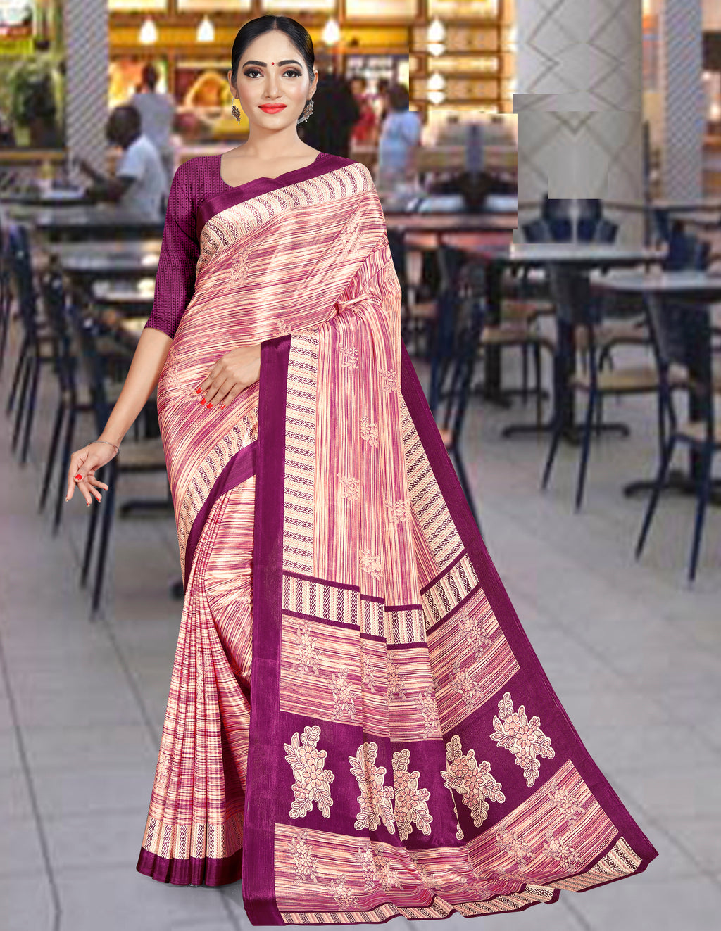 Purple Color Crepe Printed Office Wear Sarees NYF-7742