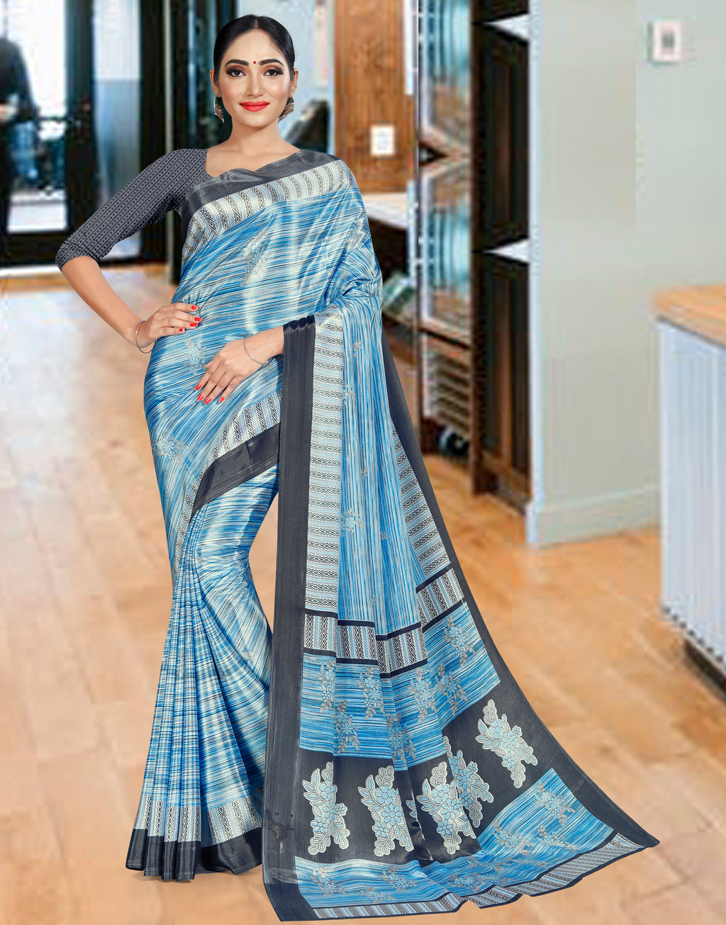 Blue Color Crepe Printed Office Wear Sarees NYF-7743