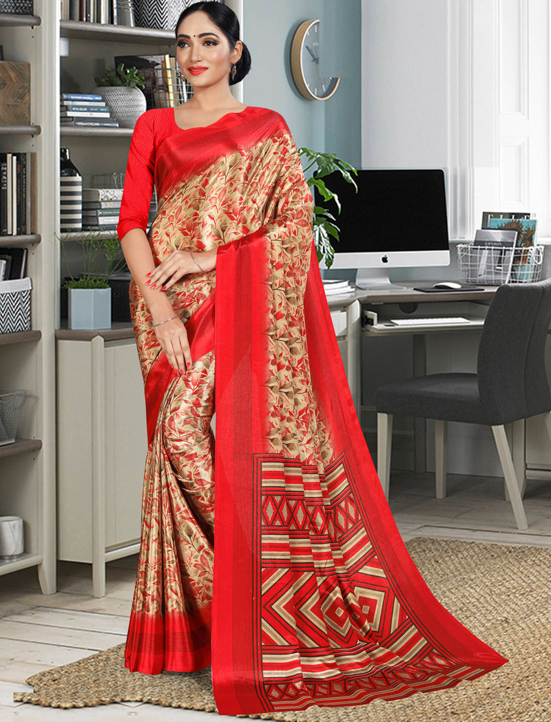 Light Coffee Color Crepe Printed Office Wear Sarees NYF-7744