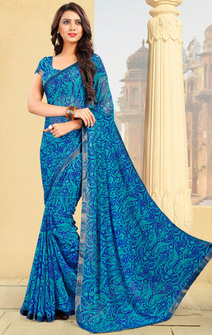 Firozi & Blue Color Georgette Kitty Party Sarees : Pravani Collection YF-70823