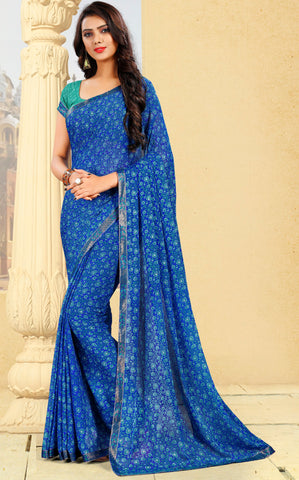 Blue Color Georgette Kitty Party Sarees : Pravani Collection YF-70826
