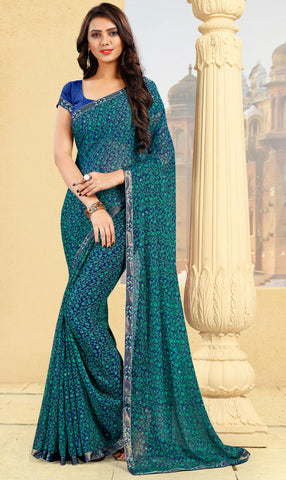 Green & Blue Color Georgette Kitty Party Sarees : Pravani Collection YF-70827