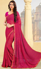Rani Pink Color Georgette Kitty Party Sarees : Pravani Collection YF-70828