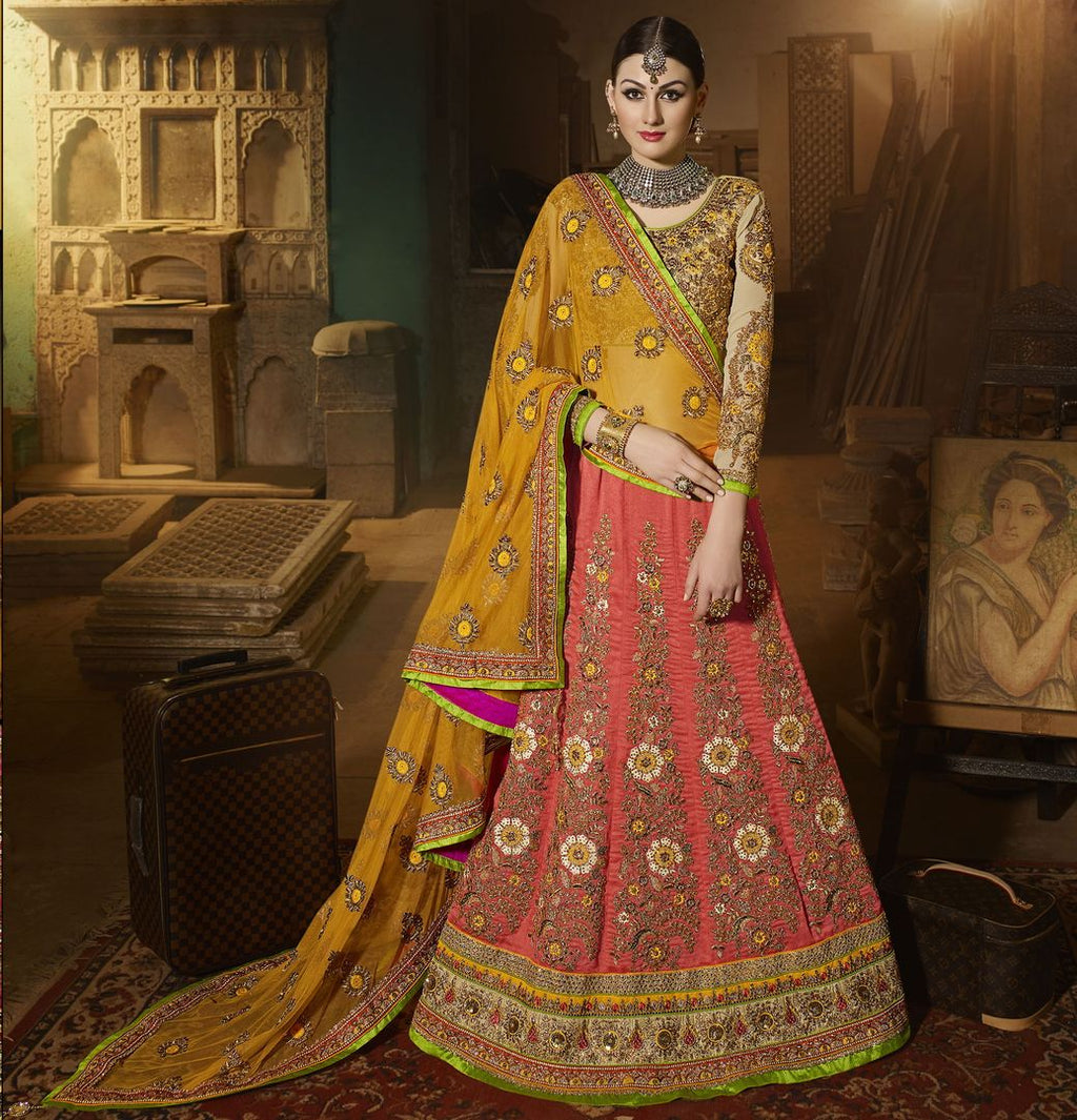 Pink Color Art Silk Designer Lehenga For Wedding Functions : Siyansh Collection  NYF-3277 - YellowFashion.in