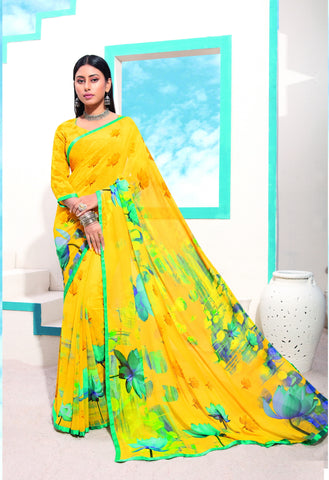 Gajjariya Color Georgette Kitty Party Sarees : Jurin Collection YF-72562