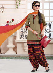 Mehendi Green, Black & Orange Color Cotton Readymade Semi Patiala Suits ( Sizes - 38, 42, 46 ) : Kinashi Collection  YF-40599