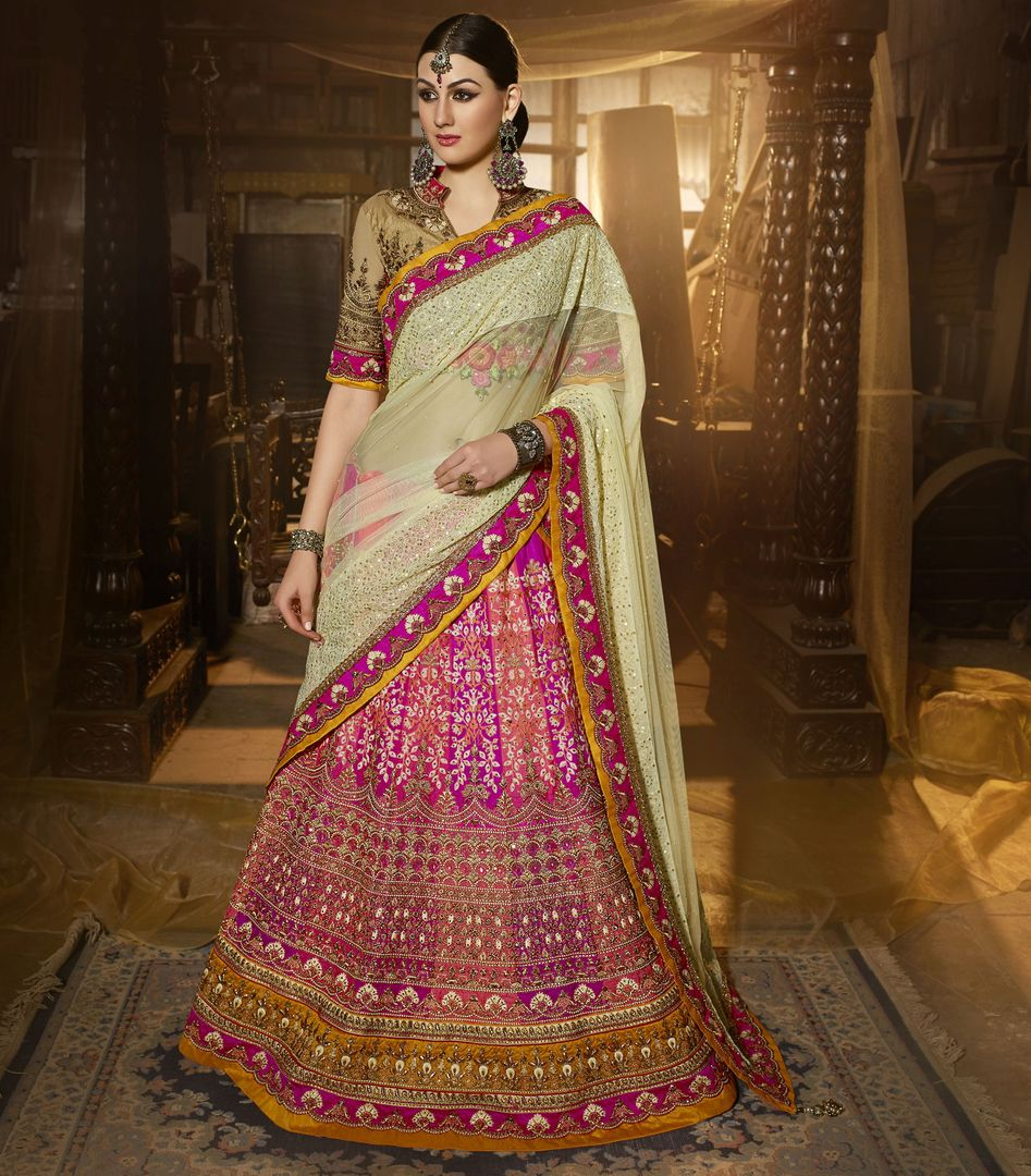 Pink Color Art Silk Designer Lehenga For Wedding Functions : Siyansh Collection  NYF-3278 - YellowFashion.in