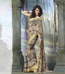 Grey and Golden  Colour  Georgette  Material Sarees :  Grace Collection -  YF-15730