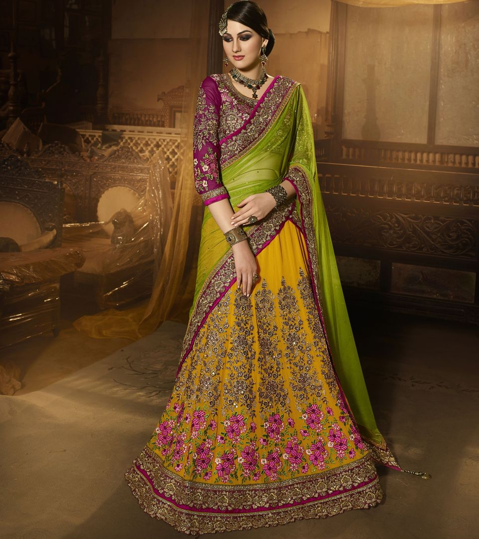 Yellow Color Georgette Designer Lehenga For Wedding Functions : Siyansh Collection  NYF-3279 - YellowFashion.in