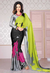 Black and Grey   Colour  Crape  Material Designer Sarees : Niva Collection -  YF-17708