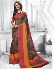 Brown Color Georgette Casual Party Sarees : Shivalika Collection  YF-52684