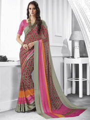 Pastel Green & Pink Color Georgette Casual Party Sarees : Shivalika Collection  YF-52685