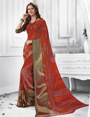 Red Color Georgette Casual Party Sarees : Shivalika Collection  YF-52686