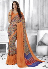 Pastel Green & Orange Color Georgette Casual Party Sarees : Shivalika Collection  YF-52687