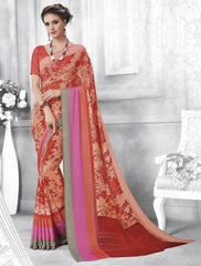 Peach & Orange Color Georgette Casual Party Sarees : Shivalika Collection  YF-52688