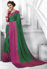 Green & Pink Color Georgette Casual Party Sarees : Shivalika Collection  YF-52689
