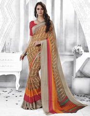 Light Coffee Color Georgette Casual Party Sarees : Shivalika Collection  YF-52691