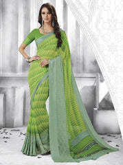Green & Yellow Color Georgette Casual Party Sarees : Shivalika Collection  YF-52693