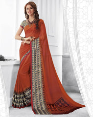 Rust Orange Color Georgette Casual Party Sarees : Shivalika Collection  YF-52695