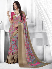 Pink & Copper Color Georgette Casual Party Sarees : Shivalika Collection  YF-52696