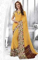 Yellow Color Georgette Casual Party Sarees : Shivalika Collection  YF-52697