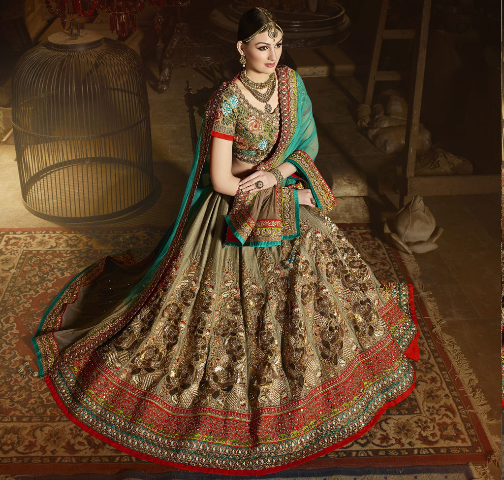 Beige Color Art Silk Designer Lehenga For Wedding Functions : Siyansh Collection  NYF-3280 - YellowFashion.in