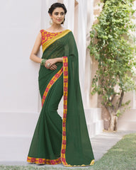 Green Color Wrinkle Chiffon Designer Festive Sarees : Kumud Collection  YF-50230
