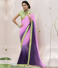 Pink & Purple Color Wrinkle Chiffon Designer Festive Sarees : Kumud Collection  YF-50231