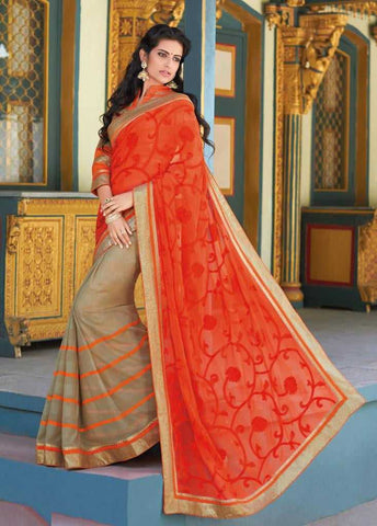 Orange and Beige  Colour  Wrinkle Chiffon  Material Designer Embroidery Saree : Martina Collection -  YF-17266