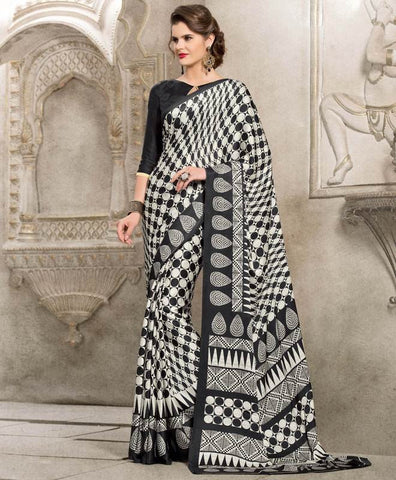 Black & Off White Color Crepe Kitty Party Sarees : Taranvi Collection  YF-41030
