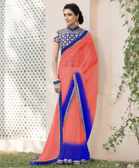 Peach & Blue Color Wrinkle Chiffon Designer Festive Sarees : Kumud Collection  YF-50233