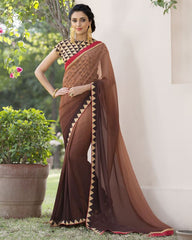 Brown Color Wrinkle Chiffon Designer Festive Sarees : Kumud Collection  YF-50235