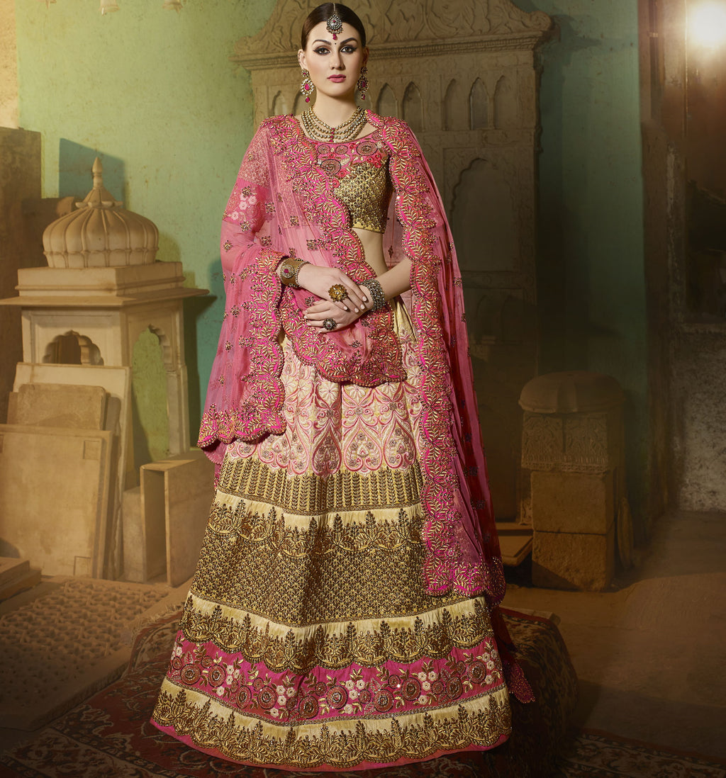 Pink & Golden Color Art Silk Designer Lehenga For Wedding Functions : Siyansh Collection  NYF-3281 - YellowFashion.in