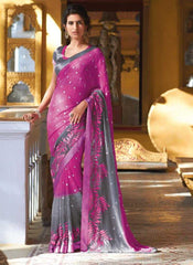 Pink and Grey  Colour  Wrinkle chiffon  Material Designer Embroidery Sarees : Martina Collection -  YF-17273