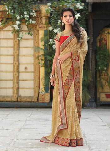 Chikoo  Colour  Brasso  Material Designer Embroidery Sarees : Martina Collection -  YF-17280