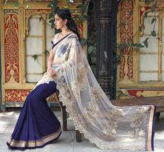 Ink Blue and White  Colour  Half Net and Half Wrinkle chiffon  Material Designer Embroidery Sarees : Martina Collection -  YF-17281